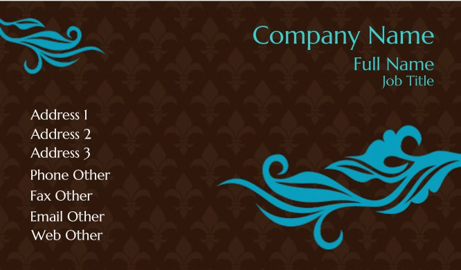 Brown and Blue Fleur de Lis Business Card Template
